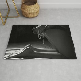 Woman in Bedroom- Black & White Rug