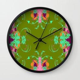 Moss Green & Pink-Purple Garden Fantasy Pattern Design Wall Clock