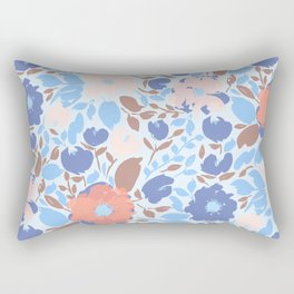 Bright Blue and Coral Floral Anemone Pattern Rectangular Pillow