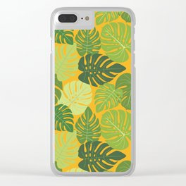 Monstera Leaves Pattern (yellow background) Clear iPhone Case