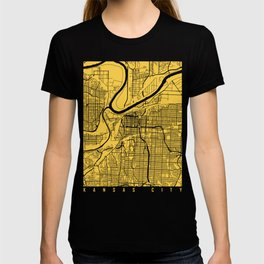 Kansas City map yellow T-shirt