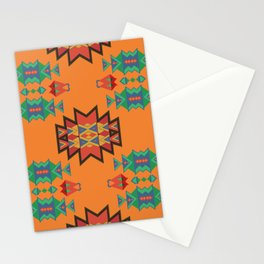 Misc shapes on an orange background Stationery Cards