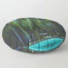 Evergreen Forest on Water (Color) Floor Pillow