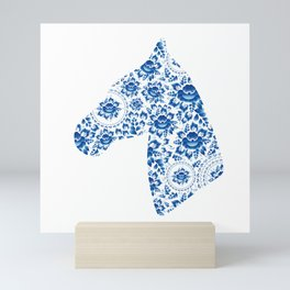 Silhouette of a beautiful horse's head with blue flowers Mini Art Print