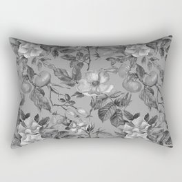 Vintage hand painted black gray watercolor roses floral Rectangular Pillow