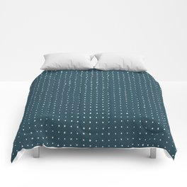 Hand Drawn Dots on Dark Teal Comforters