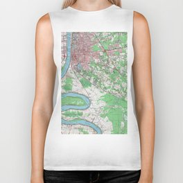Vintage Map of Baton Rouge Louisiana (1963) Biker Tank