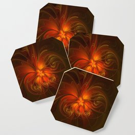 Burning, Abstract Fractal Art With Warmth Coaster