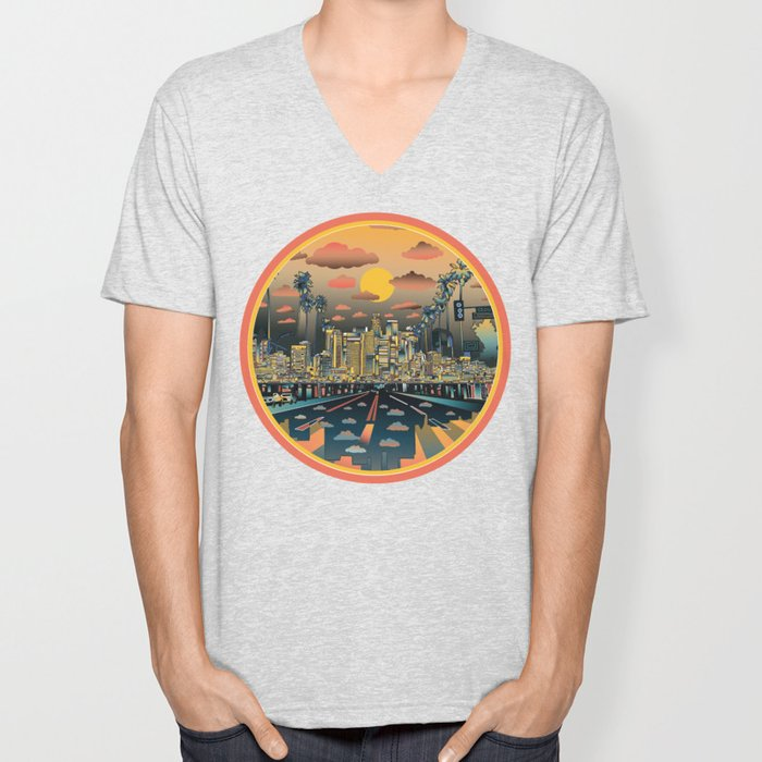 los angeles city skyline Unisex V-Neck