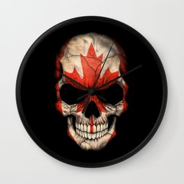 Dark Skull with Flag of Canada Wall Clock