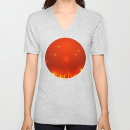 Flames from the fire and spark. Unisex V-Neck