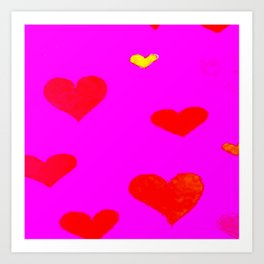 Red and Pink Falling Hearts Art Print