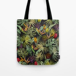 Tropical pattern on black Tote Bag