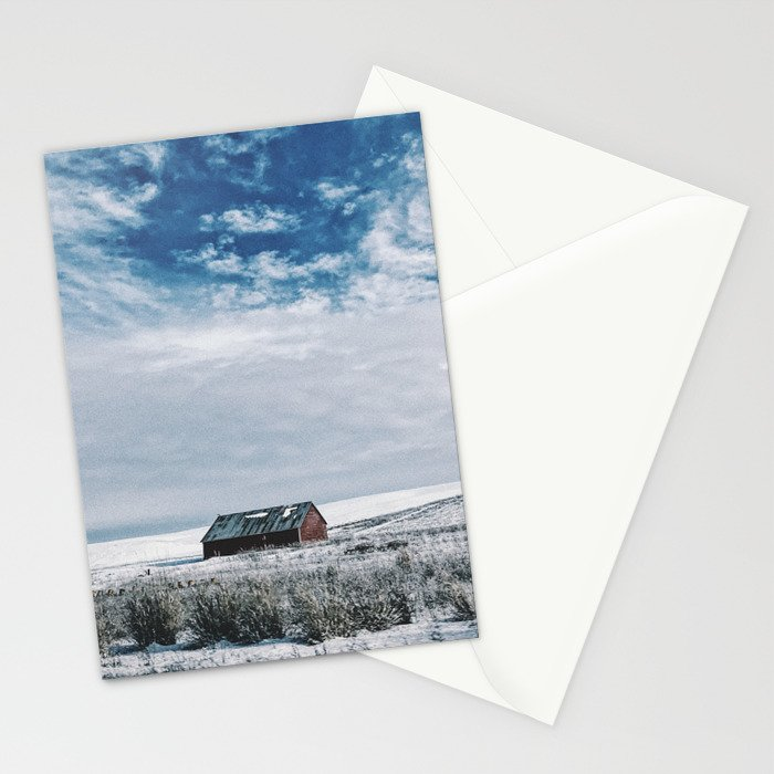 Red Barn In Winter Stationery Cards