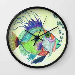 Funky Fish Art - By Sharon Cummings Wall Clock