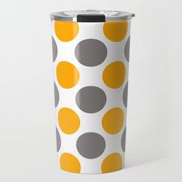 Gray and yellow polka dots Travel Mug