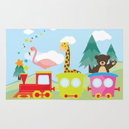 Animals Train , Nursery decor Rug
