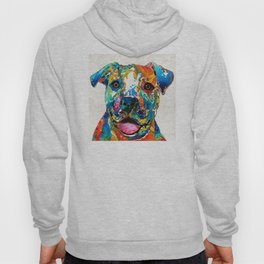 Colorful Dog Pit Bull Art - Happy - By Sharon Cummings Hoody