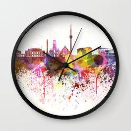 Stuttgart skyline in watercolor background Wall Clock