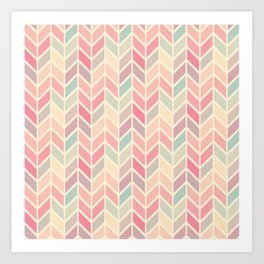 Pastel Chevron Geometric Pattern Art Print