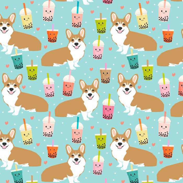 corgi boba tea bubble tea cute kawaii dog breed fabric welsh corgis dog gifts Leggings