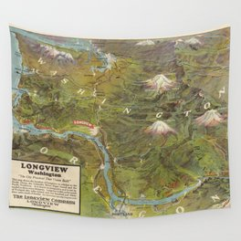 Vintage Washington and Oregon Pictorial Map (1923) Wall Tapestry