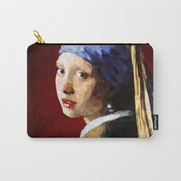 Girl with a pearl earring low poly Carry-All Pouch