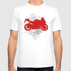 Racing Mens Fitted Tee White MEDIUM