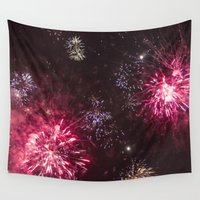 fireworks Wall Tapestries featuring Fireworks 3 by Veronika