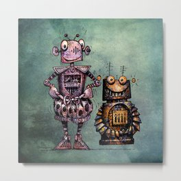 Two Kid's Robots Metal Print