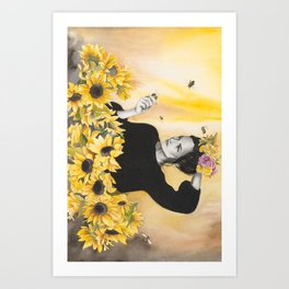 Sunflowers & Honey Bees Art Print