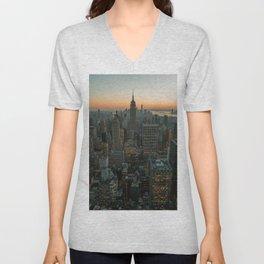 New York Skyline - Manhattan Night Unisex V-Neck