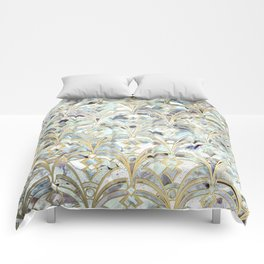 Pale Bright Mint and Sage Art Deco Marbling Comforters