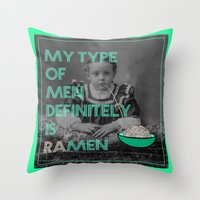 ramen Throw Pillows featuring ramen lover by AmDuf