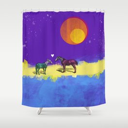 Heart and horses Shower Curtain