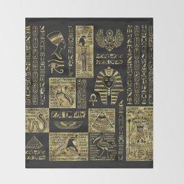 Egyptian  hieroglyphs and symbols gold on black leather Throw Blanket
