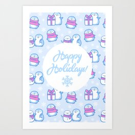 Winter Penguins // Blue Art Print