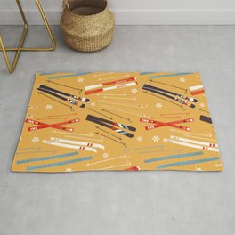 Bright Retro Skii Pattern Rug