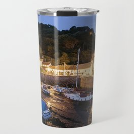 Boats in Lynmouth Harbour at dawn twilight. Devon, UK. Travel Mug