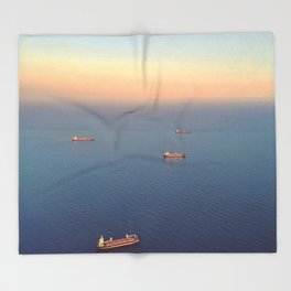 Boats on the Med Throw Blanket