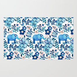 Blush Pink, White and Blue Elephant and Floral Watercolor Pattern Rug