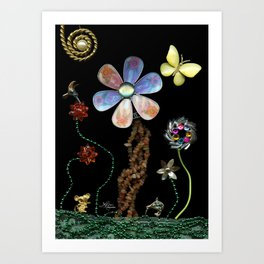 Happy Day in the Garden, Jewelry Scanography Art Print