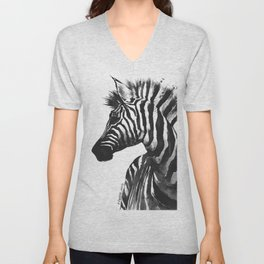 Zebra head - watercolor art Unisex V-Neck