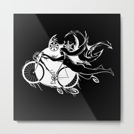 Icicle Bicycle White Metal Print