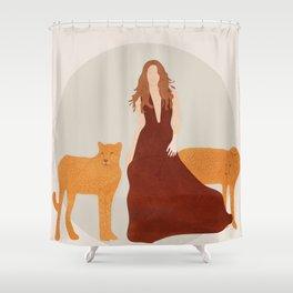 Woman with Cheetahs Shower Curtain