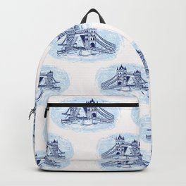 Sketchy London Tower Bridge seamless pattern. Backpack