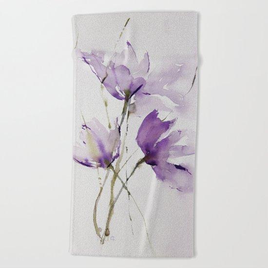 wilted tulips Beach Towel