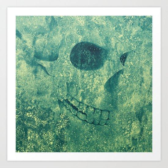Grunge Skull Green Art Print