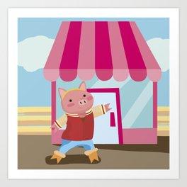 a pig chopping  Art Print