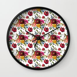 Red pink coral yellow watercolor modern floral Wall Clock